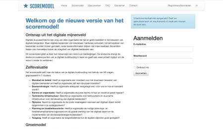 Schermafdruk Scoremodel Digitale Duurzaamheid