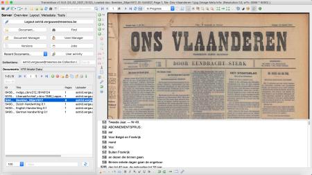 Afbeelding: screenshot Transkribus © 2021 READ-COOP SCE met beeld 'Ons Vlaanderen', publiek domein